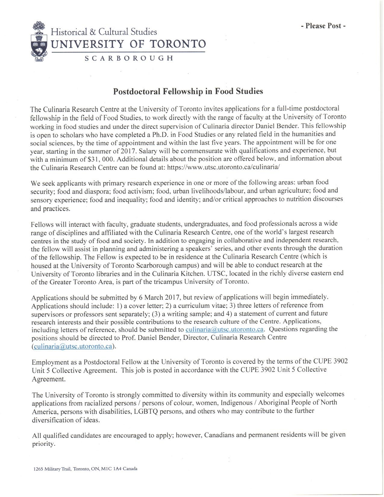Postdoctoral fellowship in Food Studies position at the Culinaria
